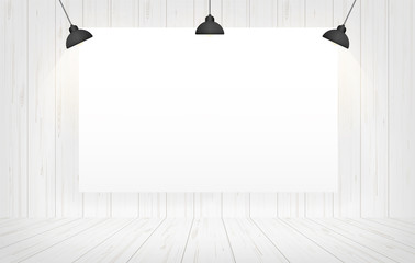 White canvas frame in room space background. Vector.