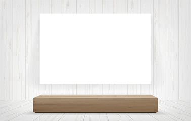 Wood bench and white canvas frame in room space background. Vector.