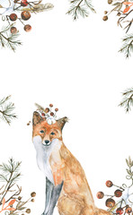 fox/Watercolor illustration, hand drawn.