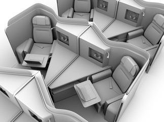 Clay rendering of luxury business class suites layout.  3D rendering image.