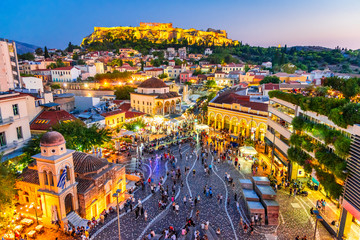 Fototapeten Athen Athens, Greece - Monastiraki Square and Acropolis