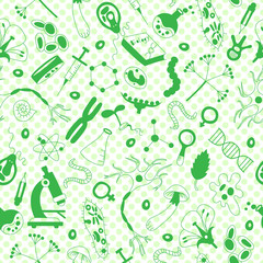 Seamless background with hand drawn icons on the theme of biology,green silhouettes icons on a white  background polka dot