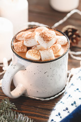Printed roller blinds Chocolate Hot chocolate with marshmallow in a white ceramic mug among winter things and decor on a wooden table. The concept of cosy holidays and New Year.