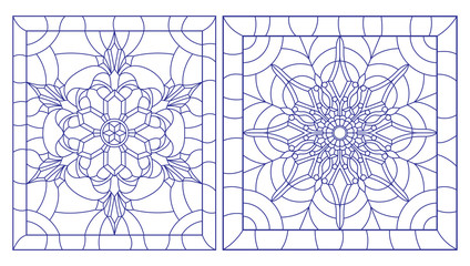Set contour illustrations of stained glass with snowflakes in the framework of, square image,blue outlines on white background