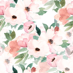 Watercolor seamless pattern. Floral print. Hand drawn watercolour illustration