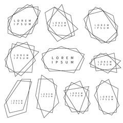 Vector set of trendy polygonal frames for logo