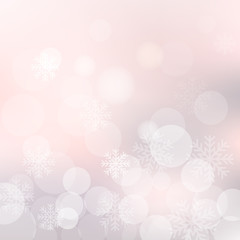 Vector Christmas background with snowflakes and shiny bokeh lights