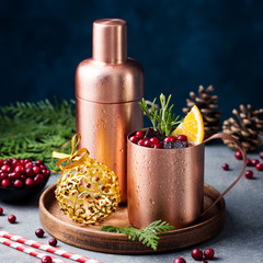 Moscow mule cocktail set, Christmas and New Year holiday drink. Copy space. Close up.