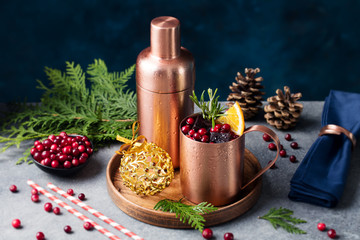 Moscow mule cocktail set, Christmas and New Year holiday drink. Copy space.