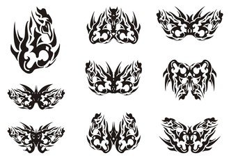 Black and white tribal butterfly wings tattoos. Unusual patterns in wings of the flaming decorative butterflies. Ethnic butterflies for your design