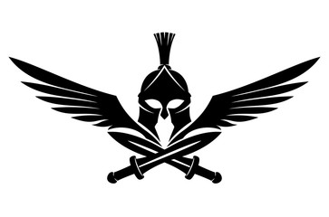 Spartan helmet with swords and wings on a white background.