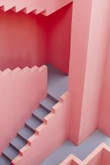 Geometric building detail. The red wall, La manzanera. Calpe