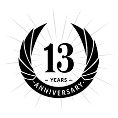 13 years anniversary. Elegant anniversary design. 13 years logo.