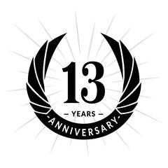 13 years anniversary. Elegant anniversary design. 13 years logo.