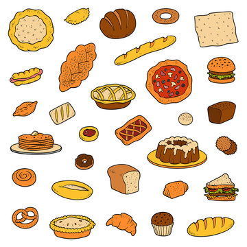 Colorful collection about bread bakery products. Vector set of pastry and baked goods