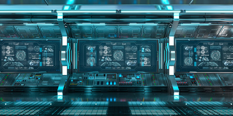 Fototapete - Blue spaceship interior with control panel screens 3D rendering