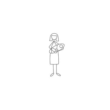 Stick figure icon of mother and newborn baby in her hands