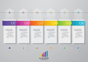 6 steps timeline infographic element. 6 steps infographic, vector banner can be used for workflow layout, diagram,presentation, education or any number option. EPS10.
