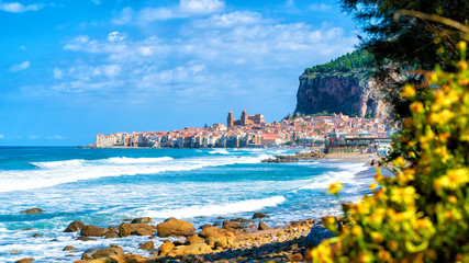 Landscape with beach and medieval Cefalu town, Sicily island, Italy