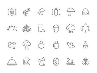 Linear autumn symbols. Vector icons set isolate. Seasonal foliage botany, bat and mushroom, hedgehog and pumpkin illustration