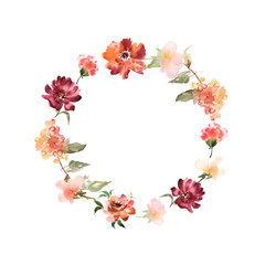 Watercolor wreath with flowers and leaves in circle. Colorful fl