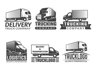 Transportation logo. Silhouette of truck various emblems of logistic theme. Vector business logo isolate. Business logo truck transportation, emblem and symbol transport cargo illustration