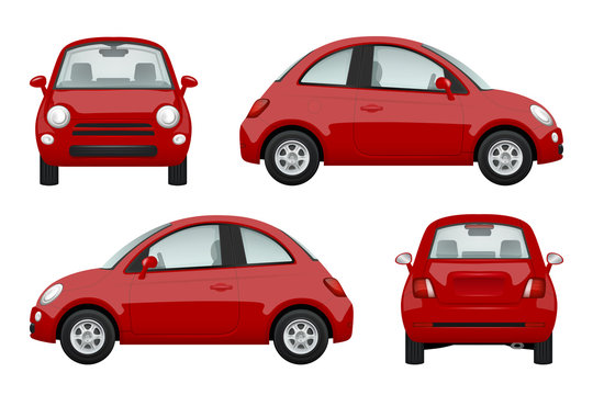 Colored cars. Various realistic illustrations of cars. Transport auto microcar vector