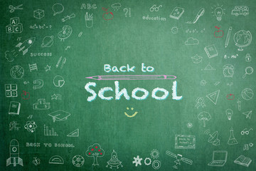 Back to school sale advertisement on school teacher's green chalkboard background with copy space encircled by freehand students' doodle for education announcement