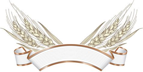 Gold ripe wheat ears on banner frame, border or corner element.