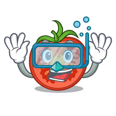Diving cartoon tomato slices on chopping board