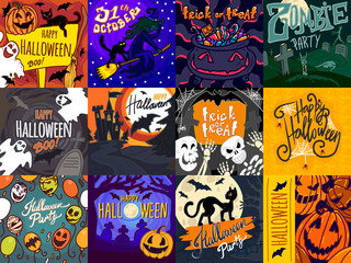 Halloween banner set. Hand drawn set illustration of Halloween vector banner for web design