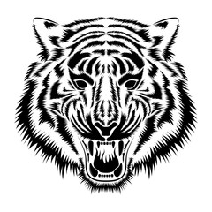 Vector image of a muzzle of a tiger.