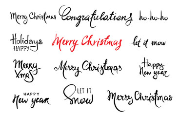 Merry Christmas and happy new year / Set Handwritten calligraphy, banner, title. Vector illustration.