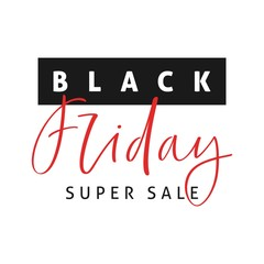 Black Friday Sale emblem with calligraphy.