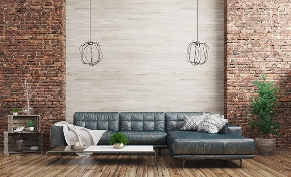 Modern interior of loft 3d rendering