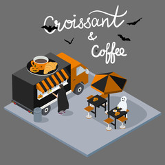 Isometric Halloween concept Coffee and croissant Cafe with script lettering. Coffee break Food Truck Delivery Master. Street Food Chef Infographic. 3D Flat vector Vehicle