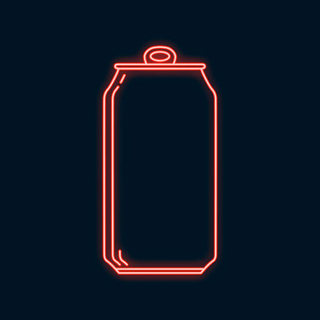 Glowing neon beer can icon. Led luminous sign for signboard or night bar. Vector isolated illustration.