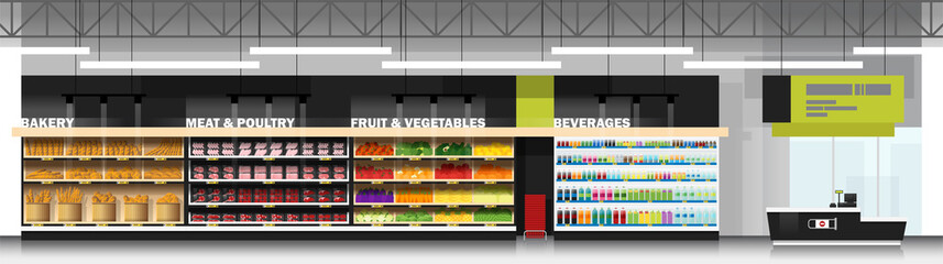 Interior scene of modern supermarket with products and cashier counter , vector , illustration