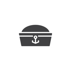 Sailor hat vector icon. filled flat sign for mobile concept and web design. Costume party simple solid icon. Symbol, logo illustration. Pixel perfect vector graphics