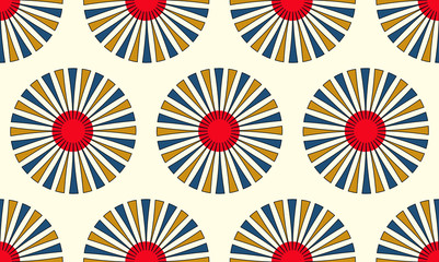 asian style floral seamless pattern in ivory blue red