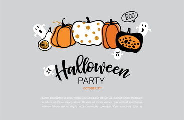 Spooky header or banner with glitter Halloween pumpkins. Poster, banner or background for Trick or Treat Halloween Party with scary pumpkins