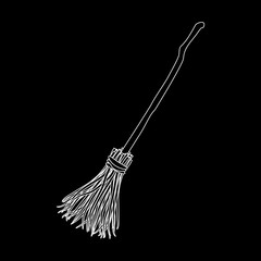 Broomstick Silhouette Icon Symbol Design. Vector illustration isolated on black background. Halloween graphic