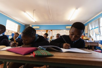 Students studying in the classroom