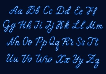 Blue neon script. Uppercase and lowercase letters.