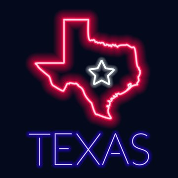 Neon illustration of the state of Texas