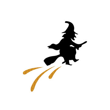 Golden glitter silhouette witch flat icon. Halloween holiday design element. Witch siluette. Halloween background. Invitation for party.