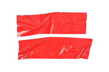 Red duct repair tape isolated on white background, top view