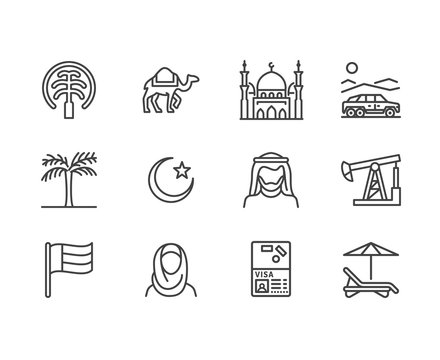 UAE flat line icons. Arab emirates flag, Dubai , islam mosque, desert offroad car, muslim people, camel, oil vector illustrations. Thin signs for travel agency. Pixel perfect 64x64.