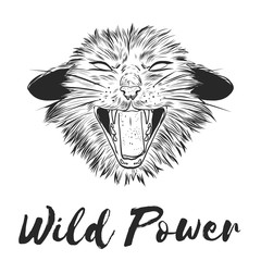 Fashion Vector illustration. Design and print for T-shirts on the theme of the struggle for animal rights, Wild Power. T-shirt for vegans. A furious cat in the style of ink. Animal liberation logo