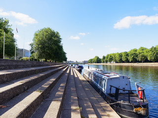 Narrow boats moored on the Trent